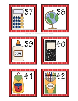 School Supplies Calendar Numbers to 100