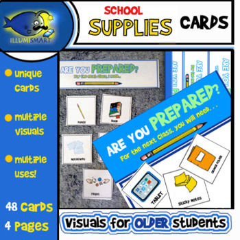 School Supplies Cards (Upper Elementary/Middle School) 4 Pages/48 Cards!