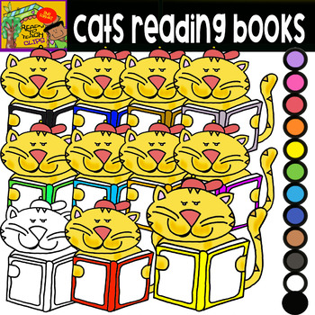 School Supplies - Cats Holding Books - Cliparts Set - 13 Items