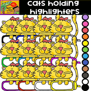 School Supplies - Cats Holding Highlighters - Cliparts Set - 13 Items