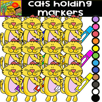 School Supplies - Cats Holding School Supplies / Bundle - 5 Sets / 65 Items