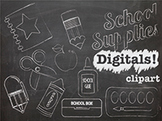 School Supplies Chalk Clip Art