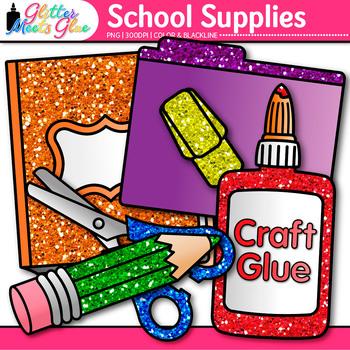 Back to School Supplies Clip Art Bundle {Notebook, Marker, Pencil, Backpack} 2