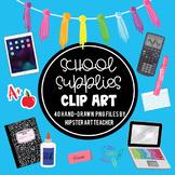 School Supplies Clip Art: 48 hand-drawn PNG files *updated 2020