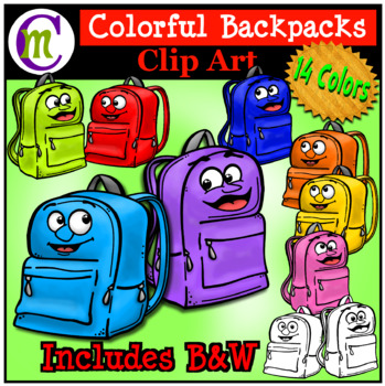 School Supplies Clip Art Backpacks CM