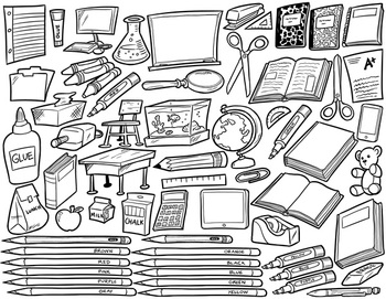 School Supplies Clip Art - Black and White - 60 Items for Commercial Use