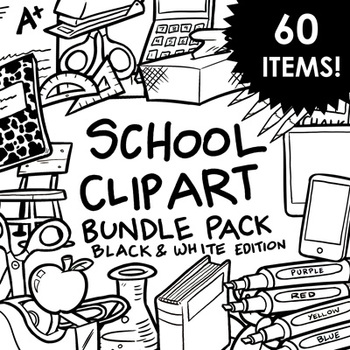 School Supplies Clip Art - Black and White - 60 Items for
