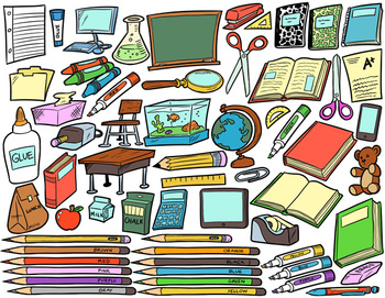 School Supplies Clip Art Bundle Pack - 120 Items for Commercial Use