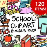 School Supplies Clip Art Bundle Pack - 120 Items for Comme