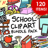 School Supplies Clip Art Bundle Pack - 120 Items for Comme