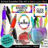 School Supplies Clip Art: Click Pens & Labels | Movable Gr