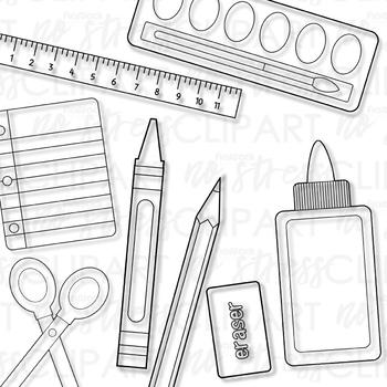 School Supplies Clip Art (Digital Use Ok!)