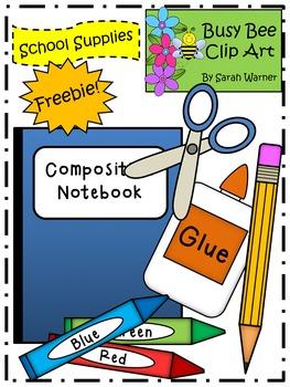School Supplies Clip Art Freebie!  {By Busy Bee Clip Art}