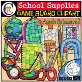 #JulyTptClipLove School Supplies Clip Art Game Boards