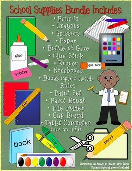 School Supplies Clip Art Graphics for Commercial Use