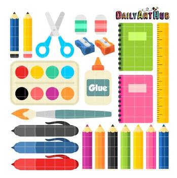 School Supplies Clip Art - Great for Art Class Projects!