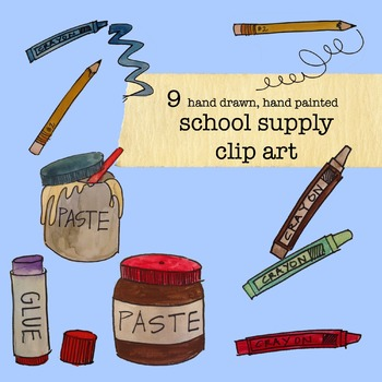 School Supplies Clip Art} Hand drawn and hand painted