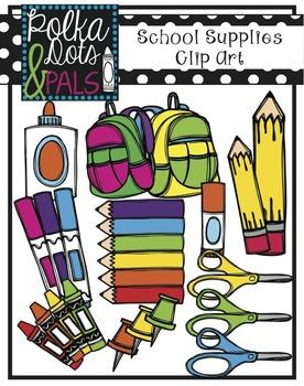 School Supplies Clip Art (Polka Dots and Pals)