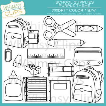 School Supplies Clip Art - Purple Pack