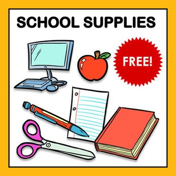 School Supplies Clip Art Sampler - Free