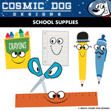 School Supplies Clip Art Set - Fun Cartoon Theme