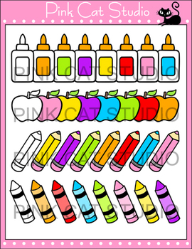 School Supplies Clip Art Set - Personal or Commercial Use