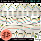 School Supplies Clip Art: Tracing/Cutting Lines | Movable