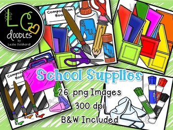 School Supplies Clip Art ~ by LG Doodles