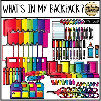 School Supplies (Clip Art por Personal and Commercial Use)