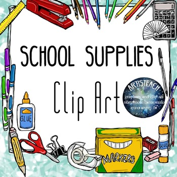 Back to school middle. Supplies clipart clip art
