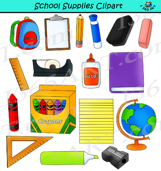 School Supplies Clipart Back to School Graphics