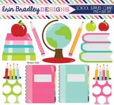 School Supplies Clipart - Books Bookworm Globe Pencils & Notebook Graphics