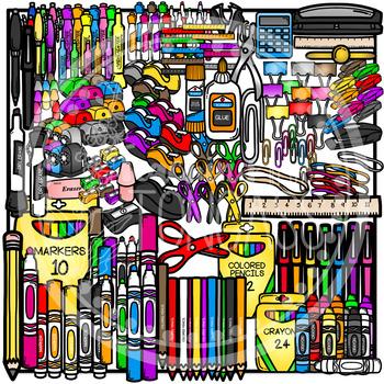 School Supplies Clipart MEGA Set (School Clipart)