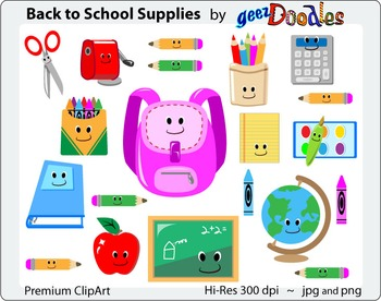 School Supplies Clipart, Colorful and Fun