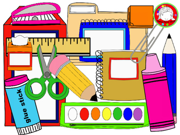 School Supplies Clipart {FRESH FREEBIE- 146 Clips ...