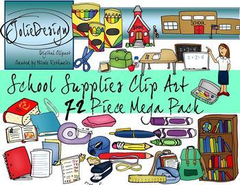 School Supplies Clipart Mega Pack  - Color and Line Art 74 pc set