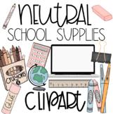 School Supplies Clipart Neutral Set