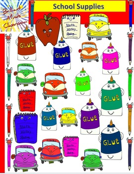 School Supplies Clipart: Pencil, Glue, Apple, Ruler and Notebook {45 images}
