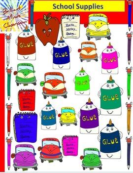 School Supplies Clipart: Pencil, Glue, Apple, Ruler and No