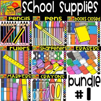 School Supplies -  Cliparts Bundle #1 -  8 Sets - 96 Items