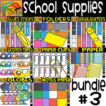 School Supplies -  Cliparts Bundle #3 -  8 Sets - 96 Items