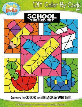 School Supplies Color By Code Clipart {Zip-A-Dee-Doo-Dah Designs}