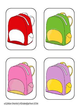 File Folder Games: Color Discrimination with School Supplies