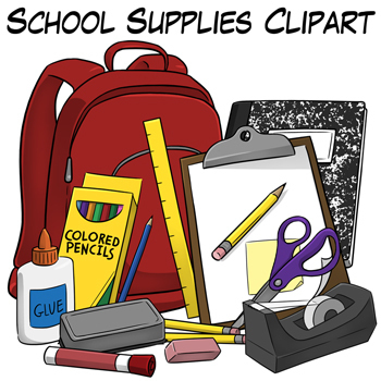 School Supplies Clip Art by Digital Classroom Clipart | TpT