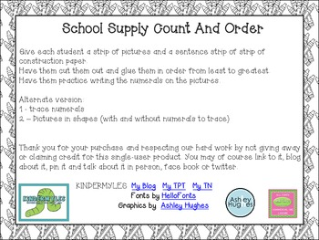 School Supplies Count and Order Freebie