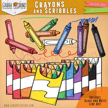 Crayons Clip Art with Scribbles