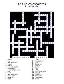 School Supplies Crossword Answer Key