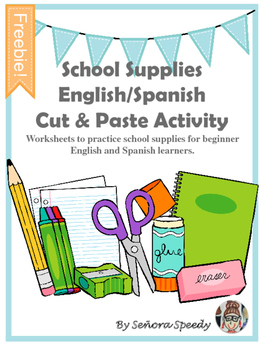 School Supplies Cut & Paste English/Spanish