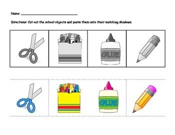 school supplies cut and paste worksheet by playful learning tpt. Black Bedroom Furniture Sets. Home Design Ideas