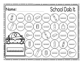 School Supplies Dab It Worksheets